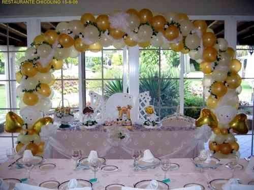 Arco 4 decoraciones con globos for Decoracion de pared para primera comunion