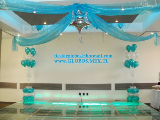 Tela y racimos decoraciones con globos for Telas para visillos de salon